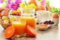 Картинка grape, breakfast, яйцо, orange, цитрусы, мюсли, чай, baking, варенье, jam, виноград, апельсины, juice, tea, сок, ...