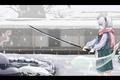Картинка зима, снег, пруд, катана, сад, шарф, touhou, Myon, Konpaku Youmu, Saigyouji Yuyuko, Touhou Project, Проект ...