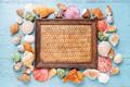 Картинка ракушки, seashells, marine, starfish, summer, wood, composition