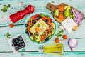 Картинка овощи, греческий салат, сыр Фета, специи, оливки