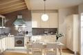 Картинка дизайн, кухня, стулья, интерьер, стол, цветы, мебель, люстра, ваза