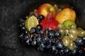 Картинка лайм, виноград, груша, фрукты, натюрморт, яблоко, гранат, авторское фото Елена Аникина