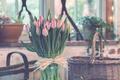 Картинка букет, тюльпаны, ваза, розовые, цветы