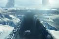 Картинка spaceship, фантастика, The Grid, скалы, горы, стена, сооружение, снег