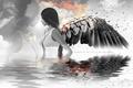 Картинка волосы, крылья, девушка, отражение