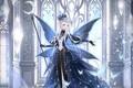 Картинка крылья, девушка, бабочки, корона, посох