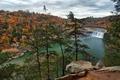 Картинка США, лес, река, деревья, водопад, природа, осень