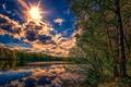 Картинка облака, река, небо, солнце, лето, лес, зелень, деревья