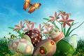 Картинка цветы, бабочка, графика, яйца, Пасха, Easter, Holidays, Butterflies, Lilies