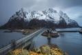 Картинка Норвегия, горы, мост, Лофотенские острова