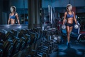 Картинка pose, workout, female, blonde, Dumbell