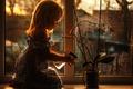 Картинка цветок, окно, полив, девочка