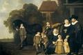 Картинка масло, портрет, картина, холст, Якоб ван Лоо, Семья Возле Ворот Своей Дачи