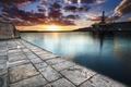 Картинка закат, причал, море