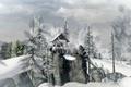 Картинка лес, скалы, деревья, зима, домик, surreal