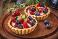 Картинка клубника, tart, berries, delicious, ягоды, черника, корзинка, dessert, десерт, cream, тарталетка