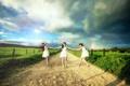 Картинка дорога, девушки, настроение, радуга, лето