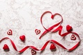 Картинка romantic, hearts, love, valentine`s day, лента, red
