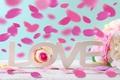 Картинка розы, сердечки, love, heart, pink, flowers, romantic, petals, roses, розовые розы, pastel