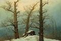 Картинка пейзаж, Дольмен под Снегом, зима, деревья, Каспар Давид Фридрих, картина, камни