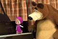 Картинка мультфильм, удивление, медведь, клавиши, пианино, Маша