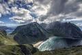 Картинка облака, Norway, Kvalvika, небо, Норвегия, горы, море