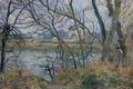 Картинка Камиль Писсарро, река, Берега Уазы возле Понтуаза. Пасмурная Погода, ветки, пейзаж, дом, картина