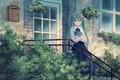 Картинка Hatsune Miku, крыльцо, девушка, Vocaloid, дом
