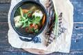 Картинка суп, зелень, гренки, Первое блюдо