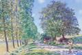Картинка Ряд Тополей на Берегах Луэна, картина, Alfred Sisley, пейзаж, Альфред Сислей