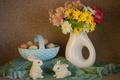 Картинка яйца, букет, Пасха, зайчики
