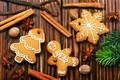 Картинка Xmas, Новый Год, Merry Christmas, печенье, New Year, Christmas, wood, cookies, decoration, корица, пряники, украшения, ...