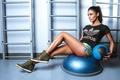 Картинка training ball, девушка, gym, брюнетка, pose, Santa Dimopulos, Санта Димопулос, певица, fitness, workout, мяч, crossfit