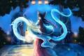 Картинка ночь, светлячки, магия, драконы, фонари, лестница, бант, жрица, art, со спины, Hakurei Reimu, Touhou Project, ...