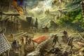 Картинка рыцари, Рыцарские будни, люди, Edikt Art, Knight weekdays, крепость, поселение