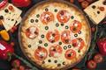 Картинка перец, помидоры, сыр, овощи, маслины, пицца