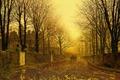 Картинка город, пейзаж, Осенний Вечер, Джон Эткинсон Гримшоу, John Atkinson Grimshaw, улица, картина