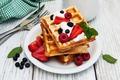 Картинка клубника, breakfast, fresh berries, завтрак, малина, ягоды, вафли, черника