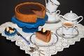 Картинка candy, шоколад, черный фон, coffee, кофе, chocolate, сладкое, конфеты, чашка, выпечка, cake, торт