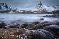 Картинка камни, Новегия, посёлок, озеро, выдержка, фьорд, север, горы