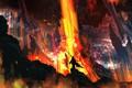 Картинка камни, man, свет, горы, плащ, жара, пепел, олень, дым, человек, посох, лава, mounts, magma, огонь