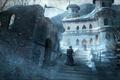Картинка замок, люди, деревья, снег, ступени, флаг