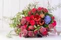 Картинка розы, букет, гиацинт, каллы, амариллис, астрантия