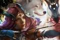 Картинка лук, стрела, волк, guild wars, арт, девушка, лучник