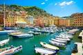 Картинка Italy, Liguria, Camogli, travel, basilica, лодки, море, пляж, берег, Италия