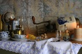 Картинка кофемолка, стакан, свеча, натюрморт, кофе, чашка, глобус, лимон