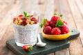 Картинка завтрак, клубника, земляника, стакан, йогурт