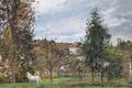 Картинка деревья, дом, картина, Камиль Писсарро, Пейзаж с Белой Лошадью на Лугу. Эрмитаж