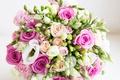 Картинка white, букет, свадебный, roses, wedding bouquet, flowers, pink