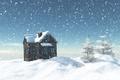 Картинка небо, дом, ели, снежинки, деревья, зима, снег, сугробы, солнечно